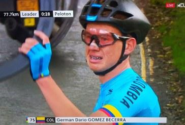 Inconsolable, así se le vio al ciclista colombiano Germán Gómez en el Mundial de Ciclismo tras falla mecánica