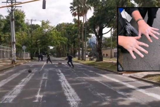 Enfrentamientos entre encapuchados y agentes del ESMAD, dejaron dos heridos en Cali