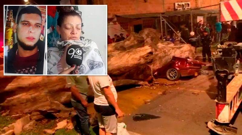 """""""Le quitó la vida el Dagma"""": Madre de joven aplastado por un árbol en Cali"""
