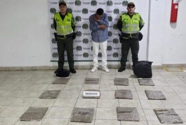 Cárcel a hombre que transportaba 10 kilos de marihuana de Cali a Bogotá
