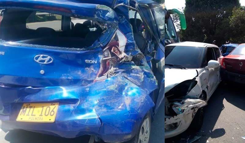 Seis heridos dejó aparatoso accidente de 10 vehículos en la recta Cali-Palmira