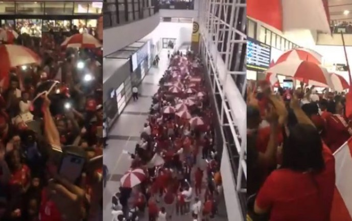 Increíble recibimiento de hinchas al América en Chile previo a juego por Libertadores