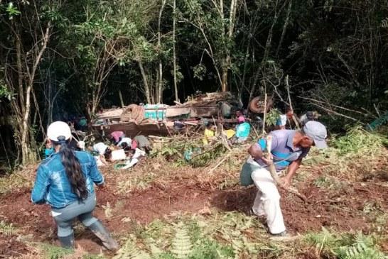 Un muerto y cinco heridos deja caída a un abismo de un bus escalera en Cauca