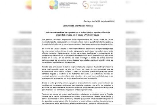 Inconformidades del sector gremial y empresarial en el Valle del Cauca