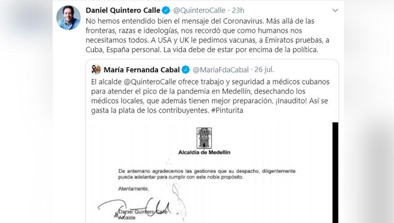 Polémica porque Medellín pidió ayuda a Cuba y España para frenar la COVID