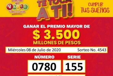 Cayó el premio mayor de la Loteria del Valle. Un ciudadano hoy tiene 3.500 millones en su cuenta