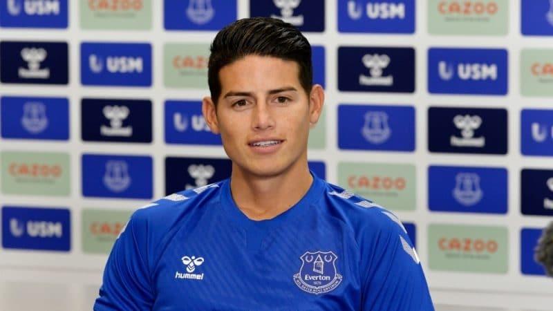 James Rodríguez, expectante en su primera rueda de prensa en Everton