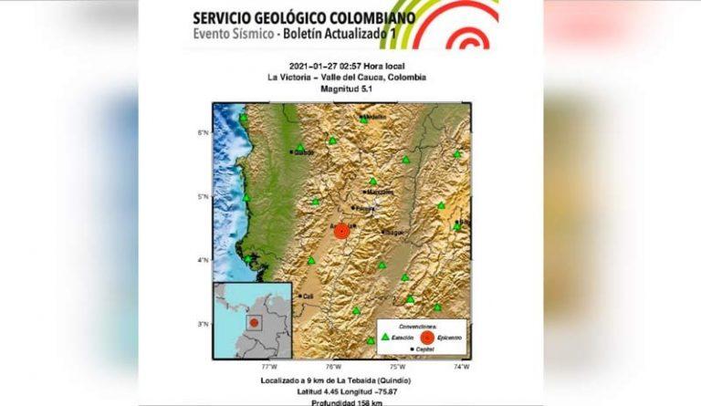 El temblor de 5.1 grados tuvo como epicentro La Victoria, Valle del Cauca; sintiéndose en varios municipios. Hasta el momento no se reportan afectaciones.