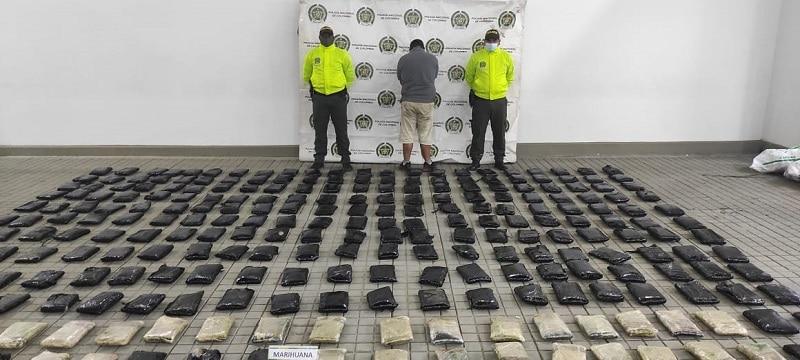 Incautados 191 kilos de marihuana que se dirigían a Bogotá