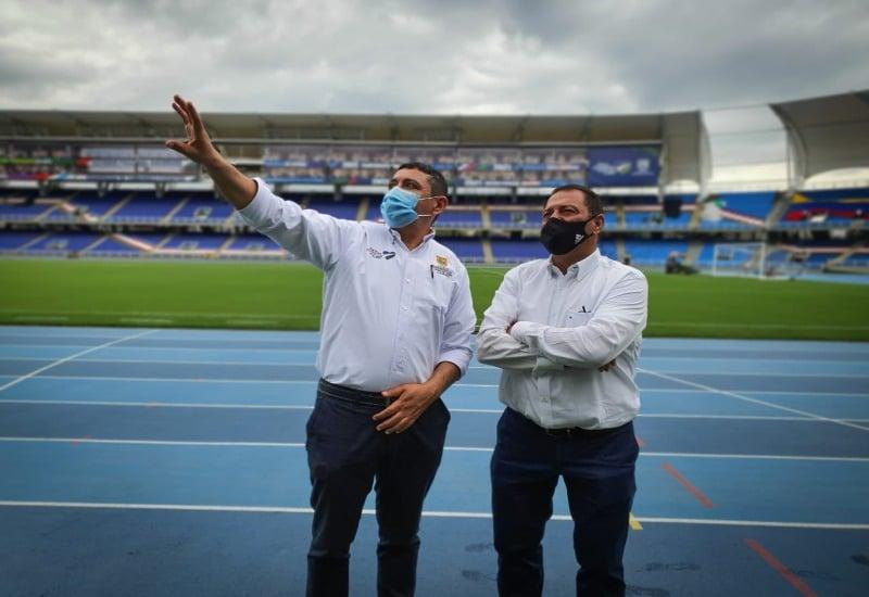 Secretario del Deporte le socializó a Tulio Gómez los avances del estadio Pascual Guerrero