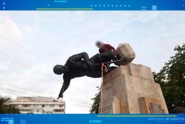 Manifestantes derribaron estatua de Sebastián de Belalcázar de Cali