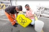 Señalética es reparada tras daños en las manifestaciones del Paro Nacional