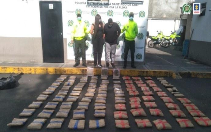 En Cali, a la cárcel pareja que ocultó 93 kilos de marihuana en un hotel