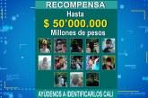 Ofrecen millonaria recompensa por el cartel de los más buscados en Cali