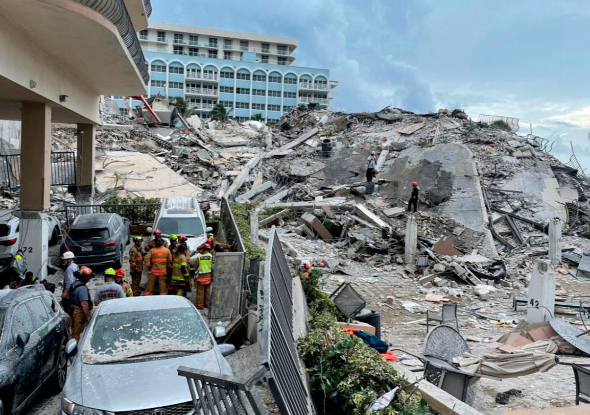 Recuperan tres cuerpos de edificio colapsado en Miami, hay 159 desaparecidos