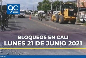 Reporte actualizado de bloqueos en Cali para este lunes 21 de junio