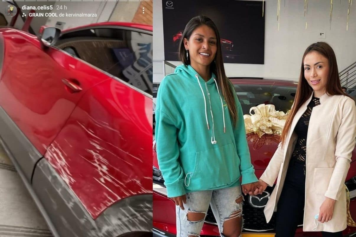 Diana Celis, novia de Epa Colombia, chocó su camioneta Mazda roja