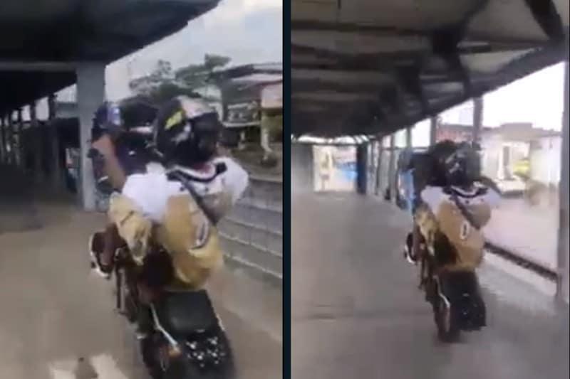 Motociclista será sancionado por hacer maniobra imprudente en estación del Mío