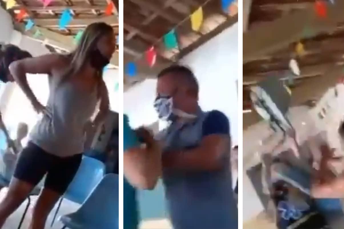 Pelea en punto de vacunación: mujer encontró su esposo con una amante