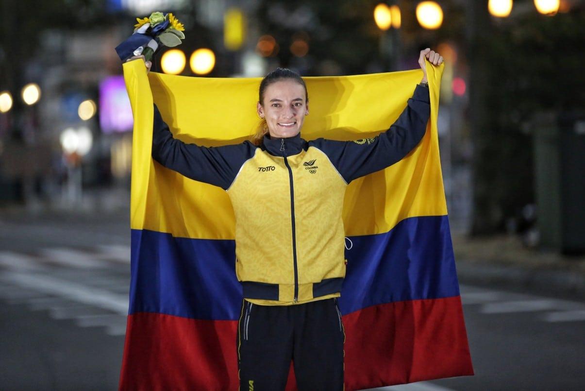 ¡Otra medalla para Colombia!: Sandra Arenas ganó plata en los 20 km de marcha olímpica