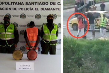Capturan a sujeto que salió en video dañando un semáforo en Cali